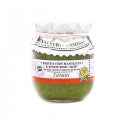 Pesto mit Basilikum Genovese DOP ohne Knoblauch in Extra nativem Olivenöl -...