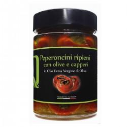 Gefüllte Peperoncini mit Oliven, Sardellen und Kapern in extra nativem...